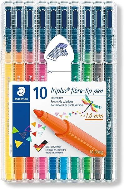 Staedtler Triplus Color 323 SB10. Rotuladores de colores de punta fina multicolor. Estuche con 10 marcadores: Amazon.es: Oficina y papelería