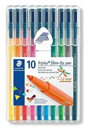 Staedtler Triplus Color 323 SB10. Rotuladores de colores de punta fina multicolor. Estuche con 10 marcadores