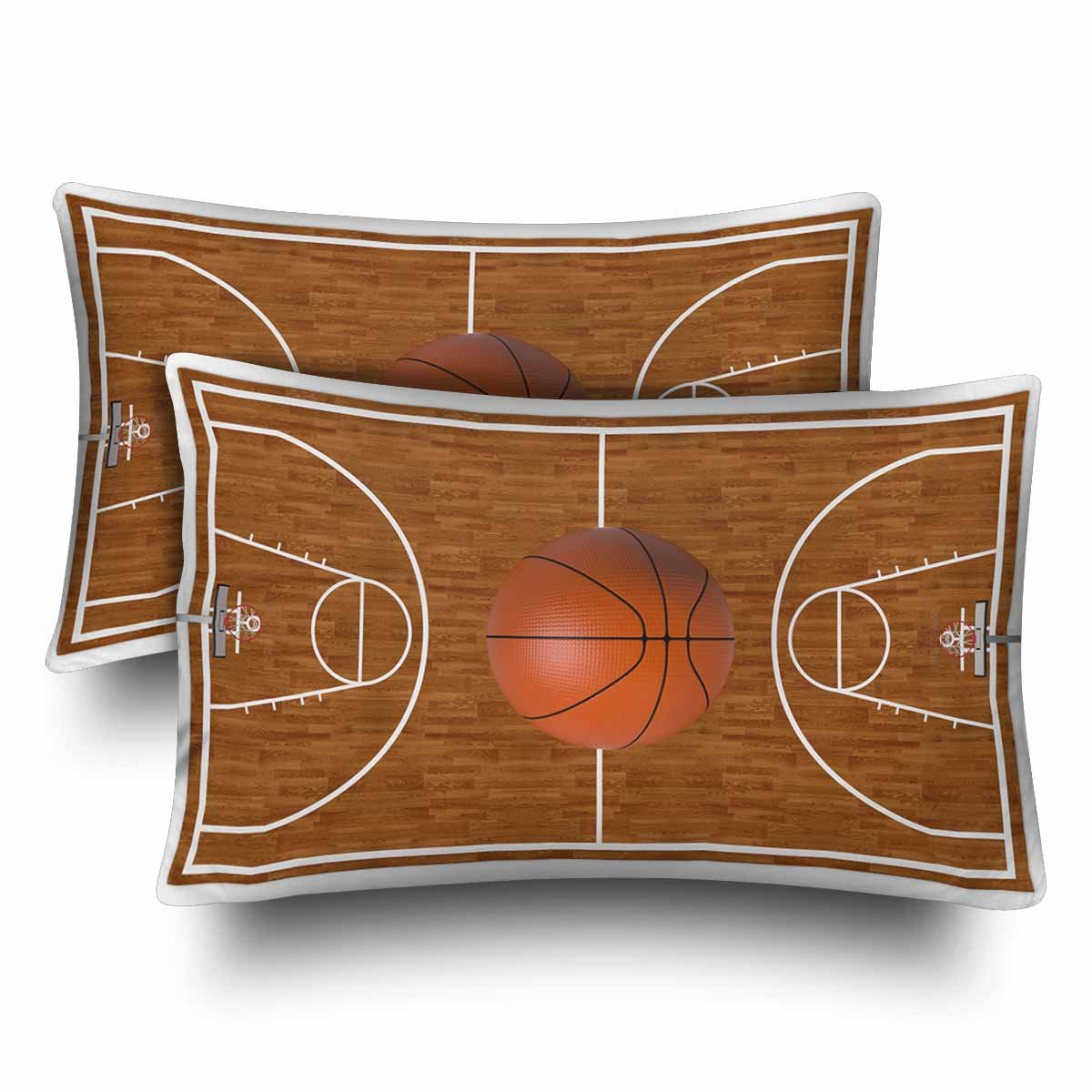 InterestPrint Sports Basketball Court Playtime Boys Wood Pillow Cases Pillowcase Standard Size 20x30 Set of 2, Rectangle Pillow Covers Protector for Home Couch Sofa Bedding Decorative by InterestPrint (Image #1)