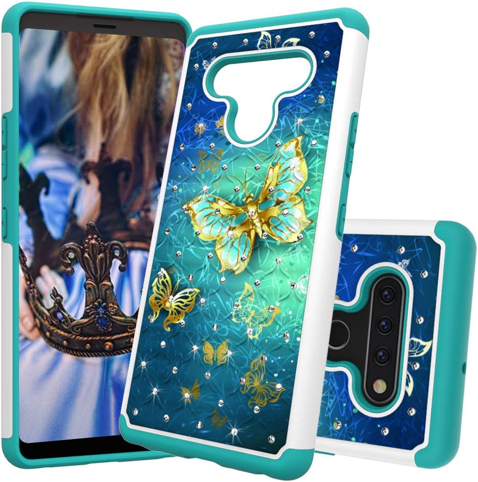 Berry Accessory LG Stylo 6 Case,LG Stylo 6 Luxury Glitter Sparkle Bling Case,Studded Rhinestone Crystal Hybrid Dual Layer Armor Protective Case for LG Stylo 6 Gold Butterfly