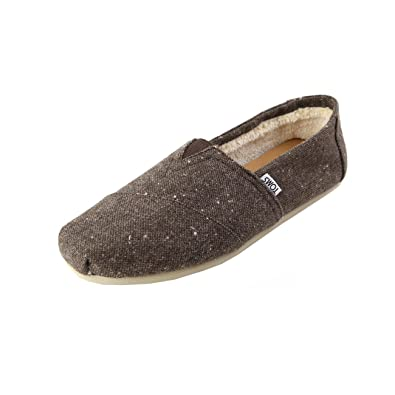 44f27a9831e TOMS Classics - Chocolate Brown Speckled Tweed Faux Shearling (Textile) Mens  Shoes 7