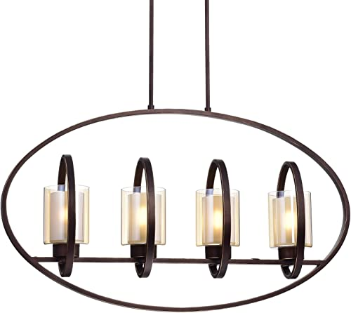 Edvivi Aveca 4-Light Oil Rubbed Bronze Oval Ceiling Chandelier