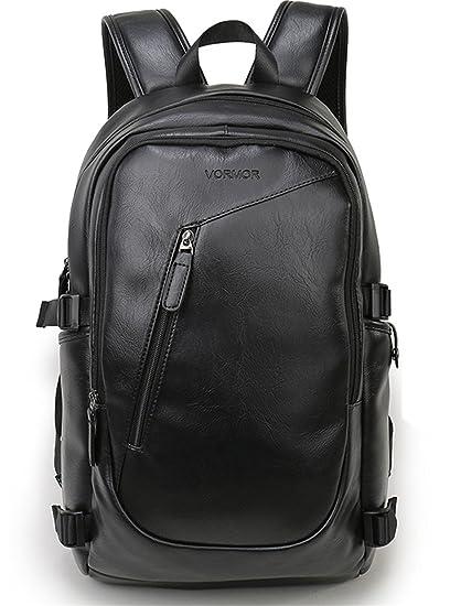 77d1a0dcb415 Amazon.com: UKXMNC Waterproof 15.6 Inch Laptop Backpack Men Leather ...