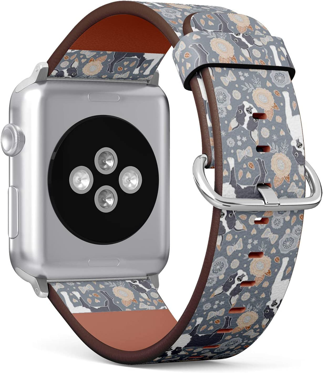 Compatible with Apple Watch Series 6/5/4/3/2/1 (Big Version 42/44 mm) Leather Wristband Bracelet Replacement Accessory Band + Adapters - Boston Terrier Beautiful Flowers