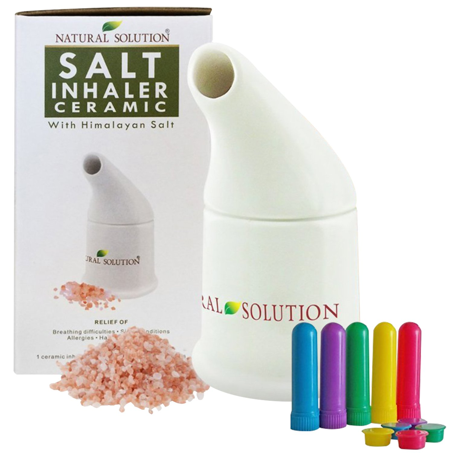 Natural Solution Himalayan Pink Salt Inhaler with 5 Travel Inhalers and 4 oz of Extra Salt, Therapy Inhaler for Asthma and Allergies