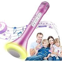 Magicfun Micrófono Karaoke, 3 en1 Bluetooth Microfono Inalámbrico Karaoke Portátil con Luces LED, Reproductor KTV…