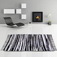 Flickenteppich handgewebter Teppich aus Baumwolle, stylischer und strapazierfähiger Fleckerlteppich in vielen verschiedenen modischen Ausführungen erhältlich (90 x 150cm / schwarz - weiß - grau)