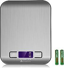 Etekcity Báscula de cocina digital multifunción alimentos escala, 11lb 5kg, Plata, Acero inoxidable (pilas incluidas)