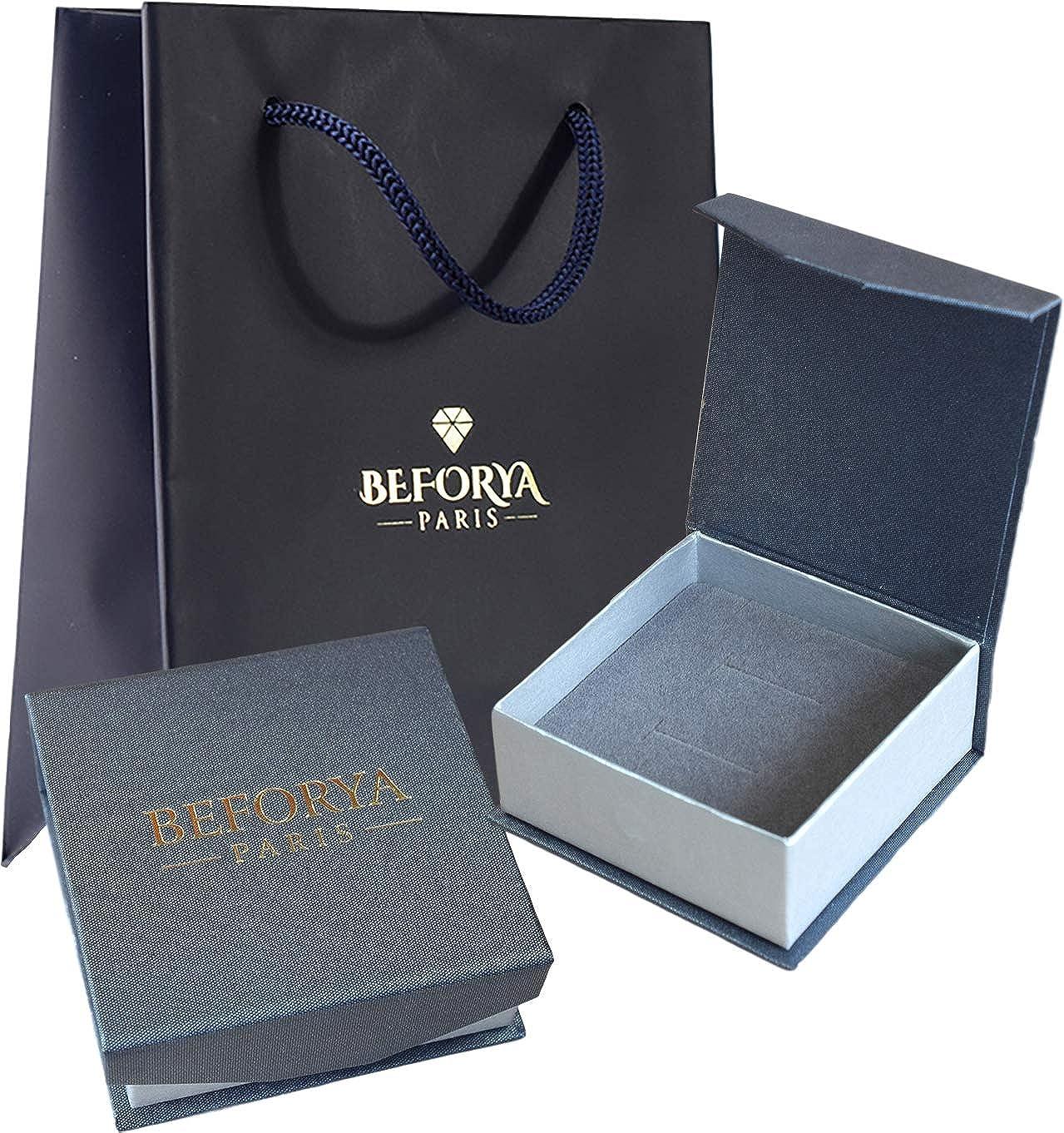 Parure de bijoux en argent 925 pour femme *Peridot Blue AB* *Beforya Paris* * MANDEL* Bijoux avec cristaux Swarovski Elements Boucles doreilles et collier magnifiques avec coffret cadeau BA//39
