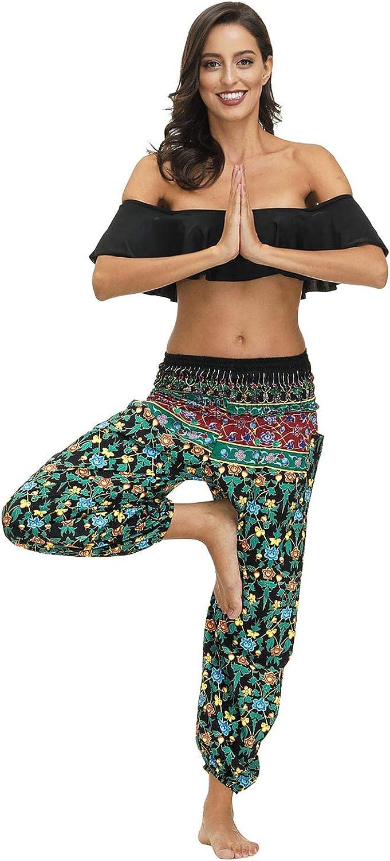 QIAOZHI Womens High Waist Print Elephant Harem Hippie Bohemian Yoga Casual Pants