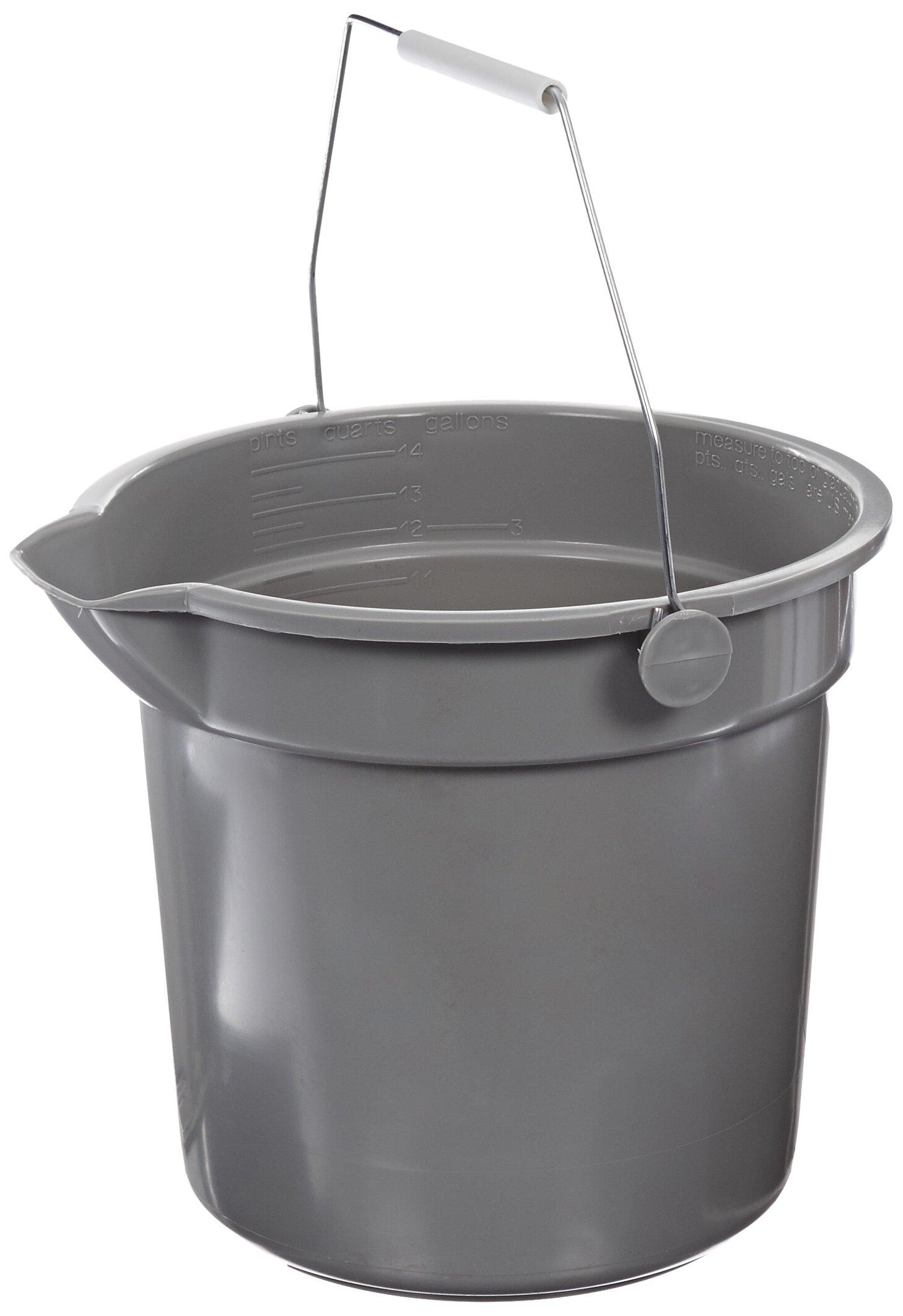 Impact 5514 Polypropylene Deluxe Heavy-Duty Bucket, 14 qt Capacity, 10'' Length x 14-1/8'' Width x 12-1/2'' Height, Gray (Case of 6)