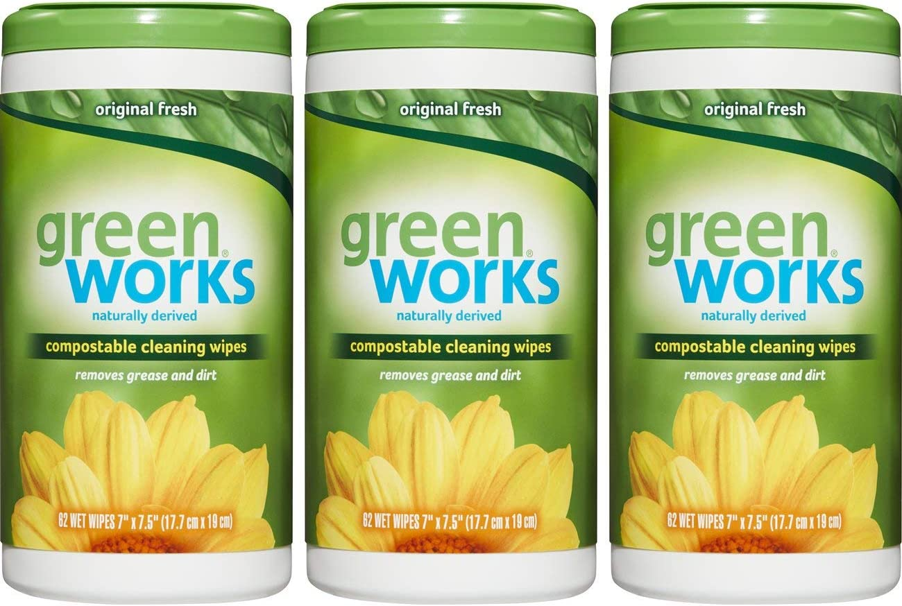 Green Works Compostable Cleaning Wipes, Biodegradable Cleaning Wipes - Original Fresh, 186 Wipes
