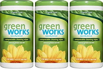 3-Pack of 62-Count Green Works Compostable Cleaning Wipes Canister