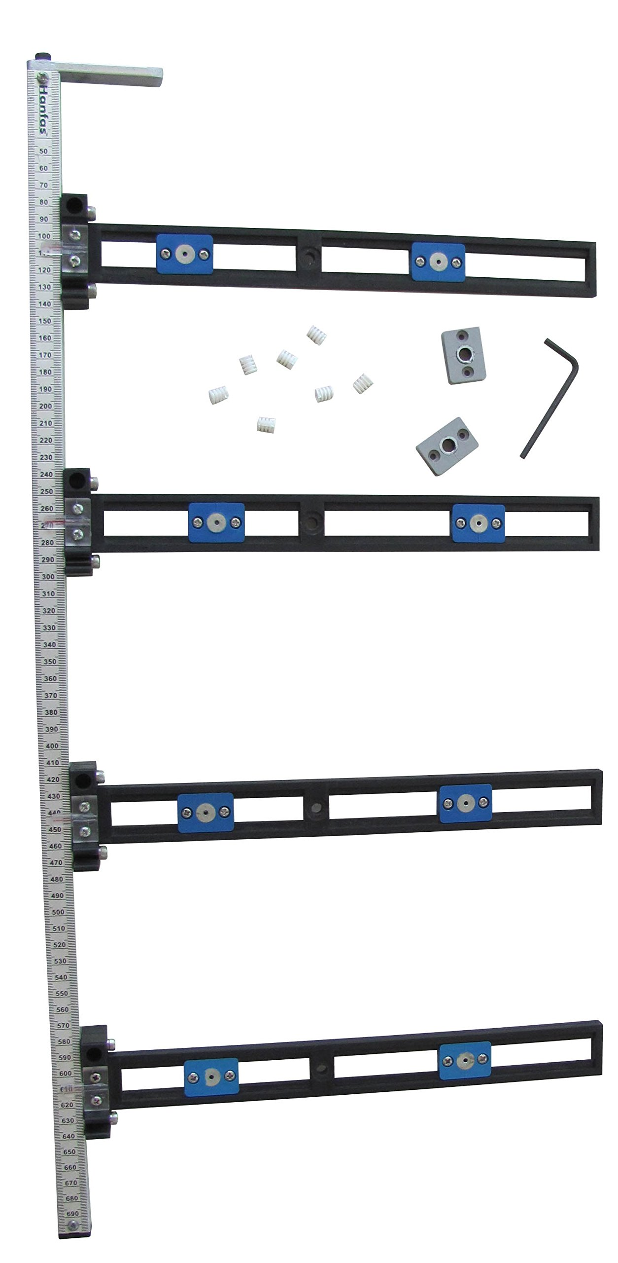 Hanfas H-620 Drawer Slide Jig- 4 Stations/Pre-Drilling Jig for Cabinet and Drawer Handles/Universal Hardware Drawer Template Jig