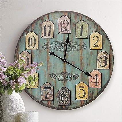 Reloj de pared moderno decoración Reloj decorativo de la pared azul viejo de la vendimia, ...