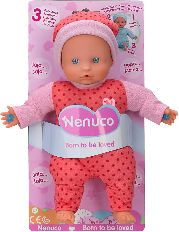 Nenuco - Muñeco Blandito 3 Funciones, hace sonidos de bebé, para niños a partir de 10 meses (Famosa 700014881) , color/modelo surtido