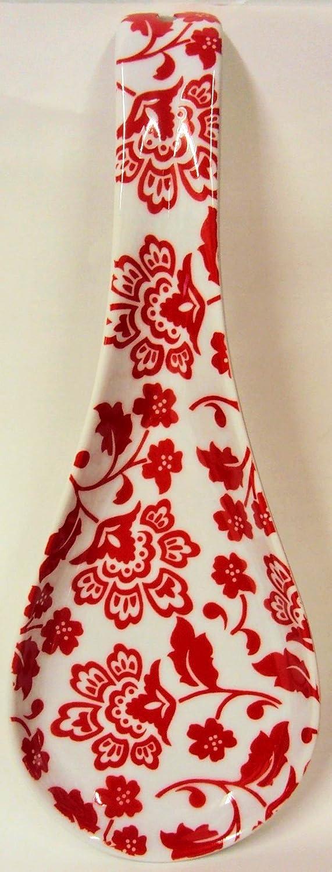 Reposacucharas de acero inoxidable Florence rojo tama/ño grande Florence para cuchara de cocina de cer/ámica decorada a mano en el Reino Unido con seguro de