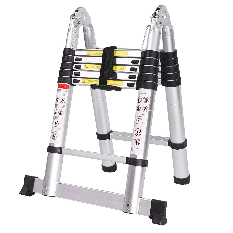 Homgrace 3.8m Doppelseitig Teleskopleiter Mehrzweckleiter H/öhenverstellbar Foldable Aluleiter Klappleiter Ausziehbare Leiter mit Finger Sicherheitseinstellungen Maximale Belastbarkeit 150kg