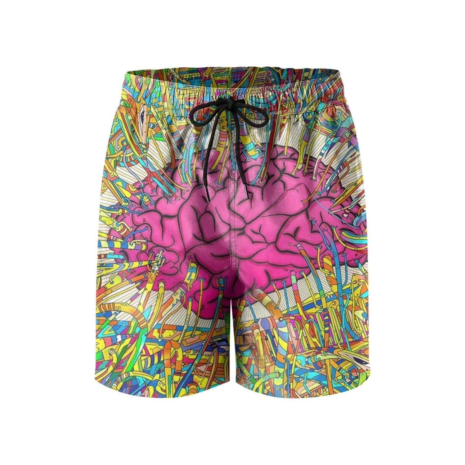 Colorful Art Abstract Brain Wallpaper Mens Swimming Shorts Fashion Swim Trunks Solid Board Beach Shorts Swimsuits for Men