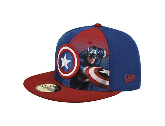 NEW ERA Men s 59fifty Hat Captain America Character Panel Sub Royal  Blue Red Fitted Cap 299b5f27d17