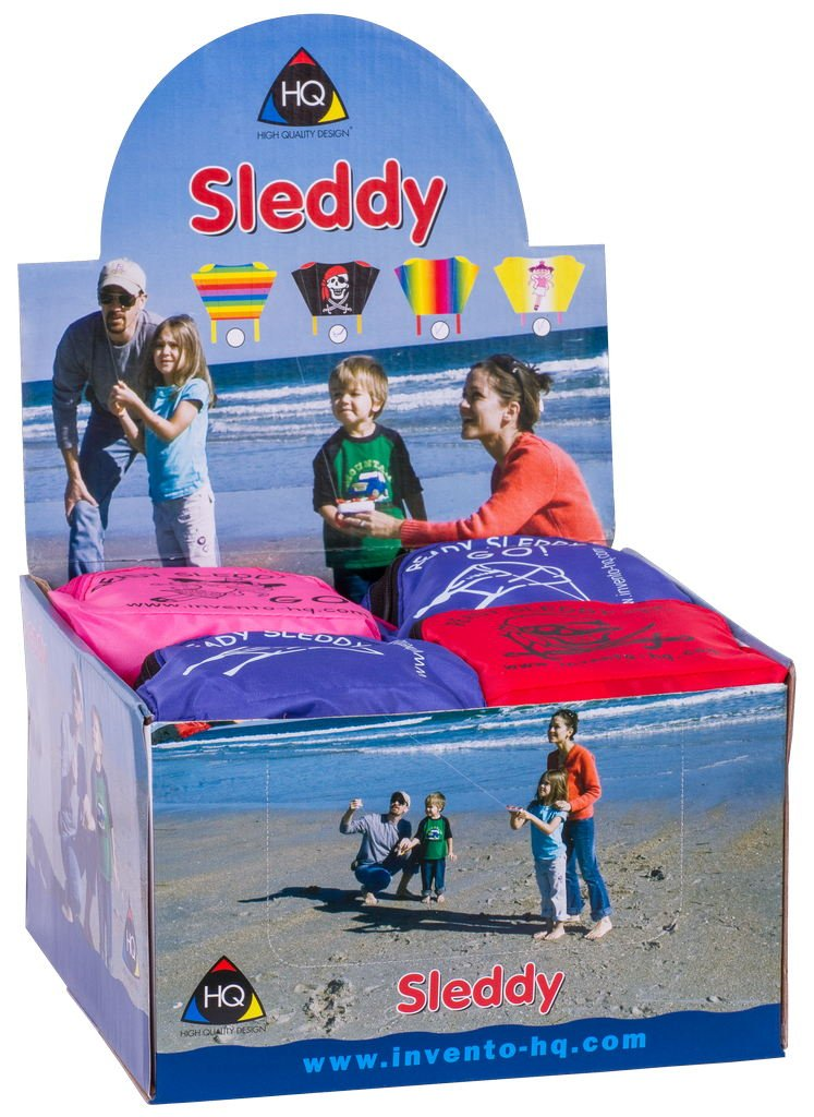 Direct HQ Kites and Designs 10008101 Sleddy Display Contains 16 Assorted Kites Pro-Motion Distributing