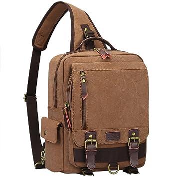 6d851861d1 S-ZONE Men s 13 inch Laptop Backpack Cross Body Messenger Bag Vintage Canvas  School Shoulder Strap Bag Sling Travel Hiking Rucksack  Amazon.co.uk   Luggage