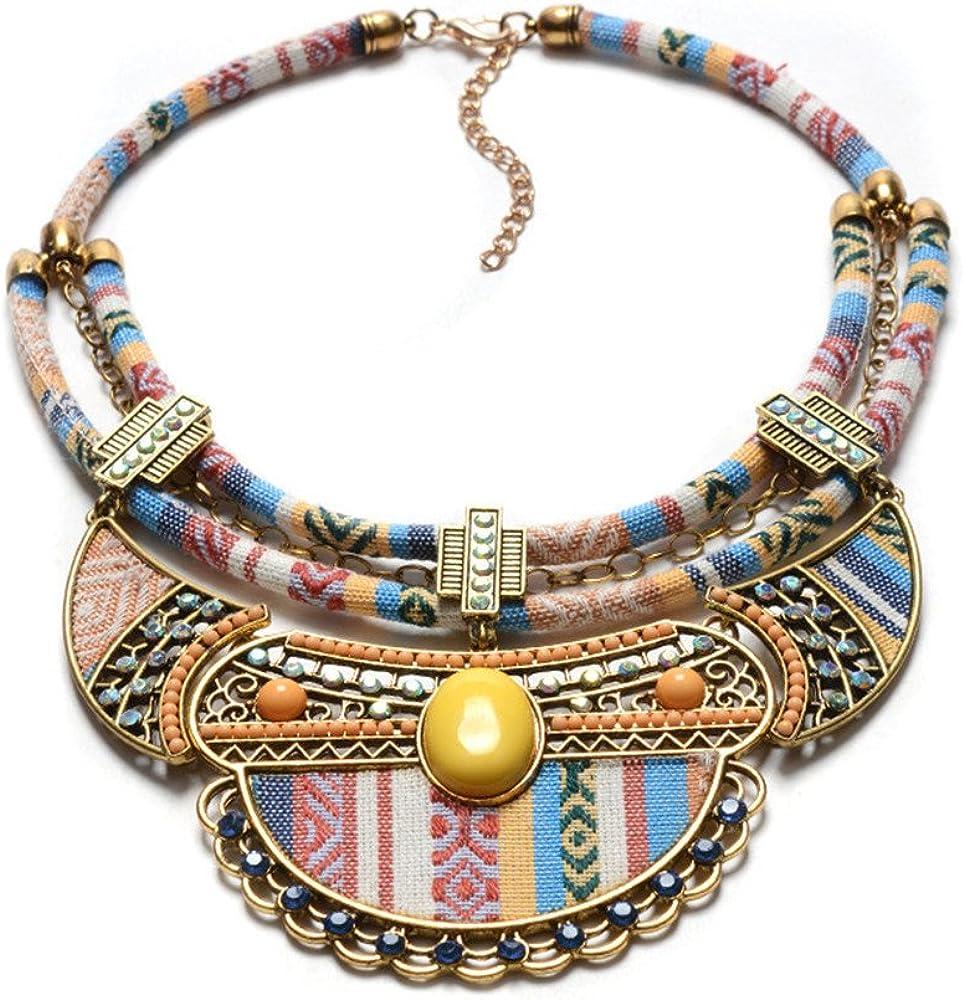 QXLDM Collar de la joyería de Las Mujeres Hecho a Mano Tejido Estilo étnico Collar aleación Colorido Piedras Preciosas Granos de arroz con Incrustaciones Retro Accesorios