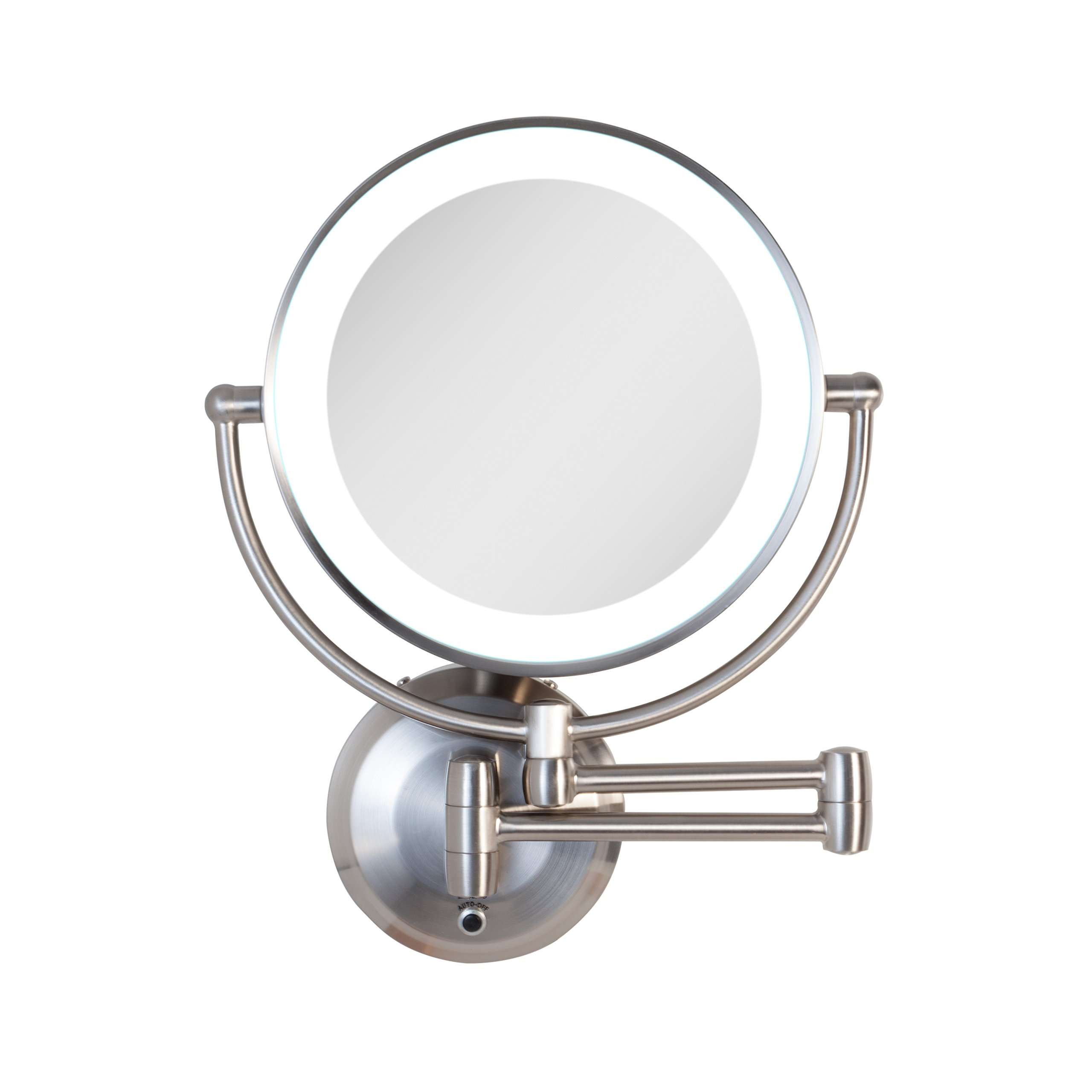 Zadro Cordless Dual LED Lighted Round Wall Mount Mirror with 1X & 5X magnification and 5 minute Auto Off Timer in Satin Nickel Finish