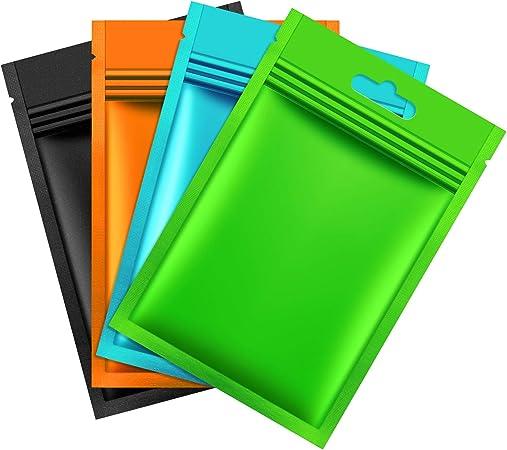 Zonon 200 Pi/èces Sacs de Mylar /à Fermeture Zip Sacs de Papier dAluminium Multicolore Sacs de Feuille de Mylar M/étalliques Plats Sacs de Stockage de Nourriture Plats avec Zip