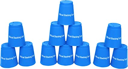 amazon com quick stack cups set of 12 sport stacking cups by