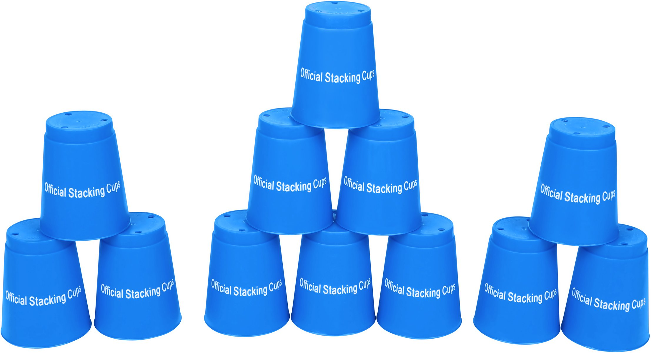 Quick Stack Cups - Set of 12 Sport Stacking Cups - By Trademark Innovations (Blue)