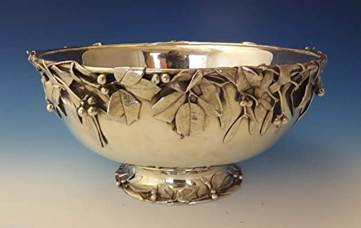 Sterling Silver Holly Punch Bowl with Applied Holly Leaves & Berries by Whiting Sterling Silver Company