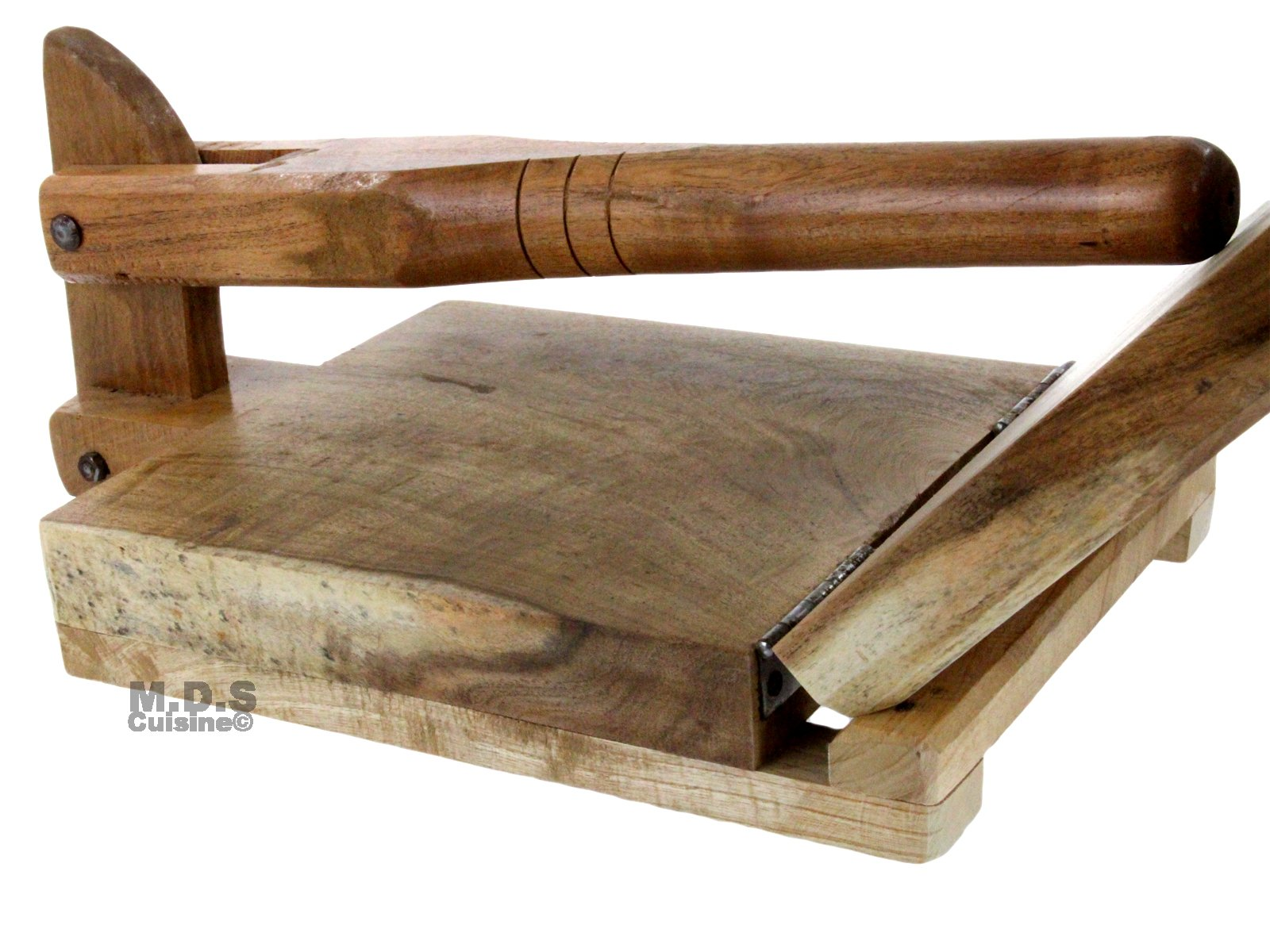 Tortilla Press Wood Tortilladora de Madera Barnizada Mezquite Tortilla Press Heavy Duty 9.5''x 9'' by K&R Kitchen Restaurant Supplies (Image #1)