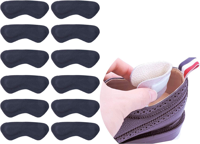 6 Pares Acolchado Talón Protección Plantillas High Heels Pads Cuero Talón plana Cuidado de los pies talón Cojín Protector de pies para juanetes Mujer herrens (Negro)