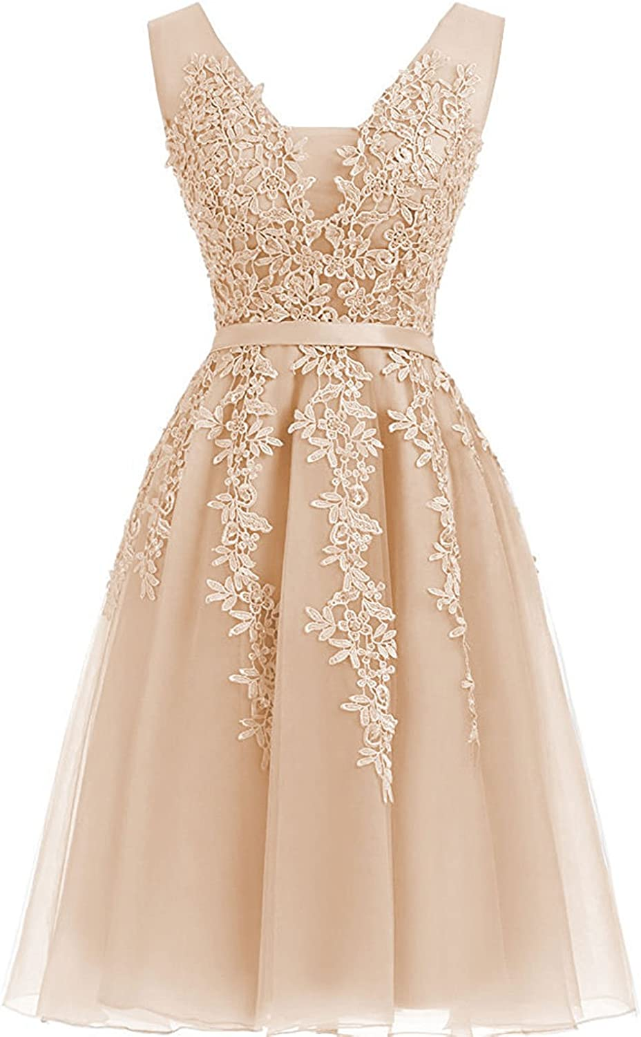 Homecoming Dresses Short Tulle Evening Prom Dress Appliques Lace Cocktail Party Gowns