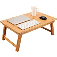 Large Size Laptop Tray Desk Nnewvante Foldable Bed Table Tray, Coffee/TV Desk 100% Bamboo Breakfast Serving Tray Gaming Writing Support up to 18in Laptop, 75x45cm(29.5x17.7in)