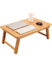 Large Size Laptop Tray Desk Nnewvante Foldable Bed Table Tray, Coffee/TV Desk 100% Bamboo Breakfast Serving Tray Gaming Writing Support up to 18in Laptop, 29.5x17.7in