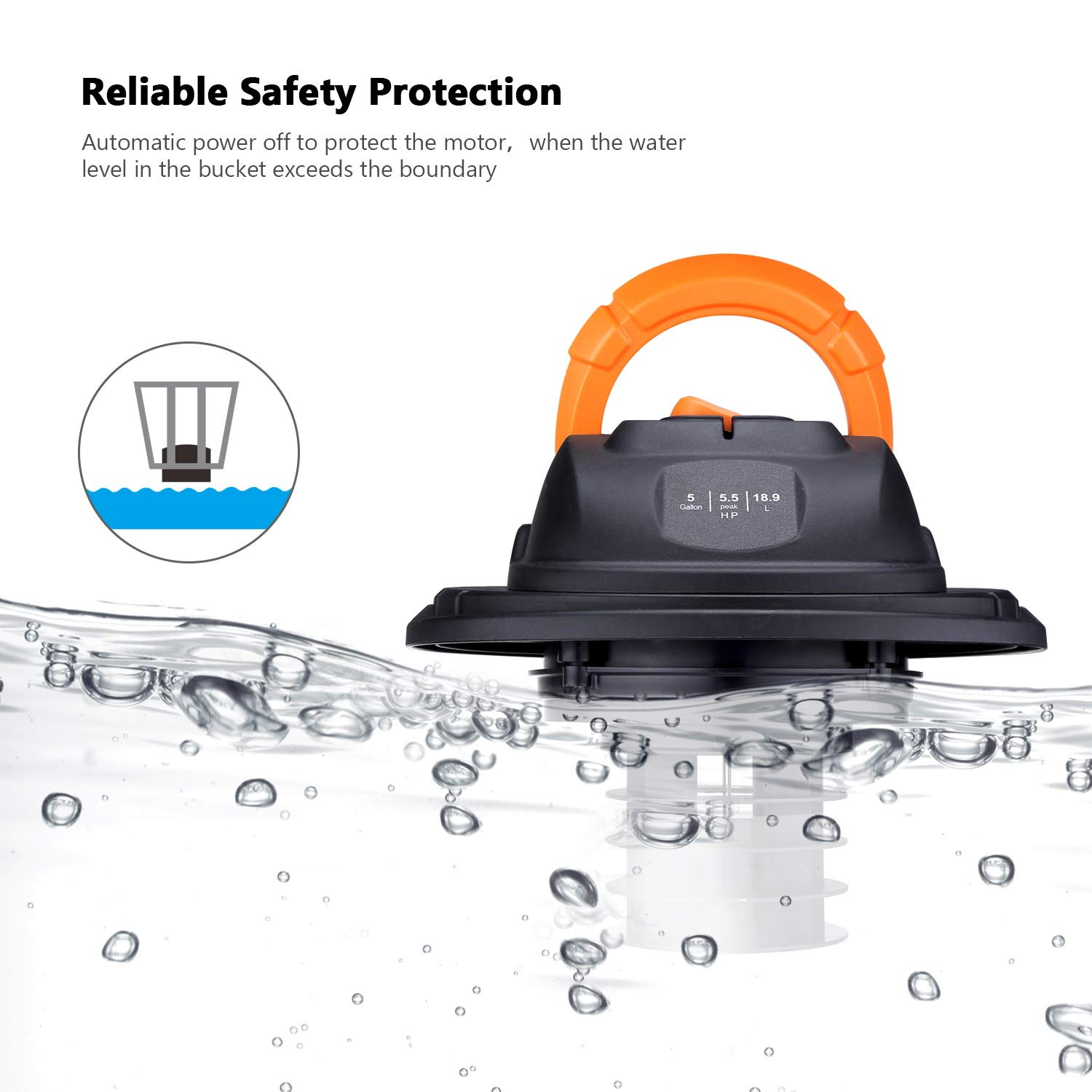 TACKLIFE Wet Dry Vacuum, 5 Gallon, 5.5 Peak HP with 20 FT Clean Range, 4-Layer Filtration System and Safety Buoy Technology for Dry/Wet/Blowing, Multipurpose Accessories Included - PVC01A by TACKLIFE (Image #3)