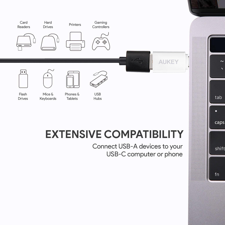 Amazon.com: AUKEY USB C Adapter, [2 Pack] USB C to USB 3.0 Adapter  Compatible MacBook Pro 2017/2016, Google Chromebook Pixelbook, Samsung  Galaxy S9 / S8 ...
