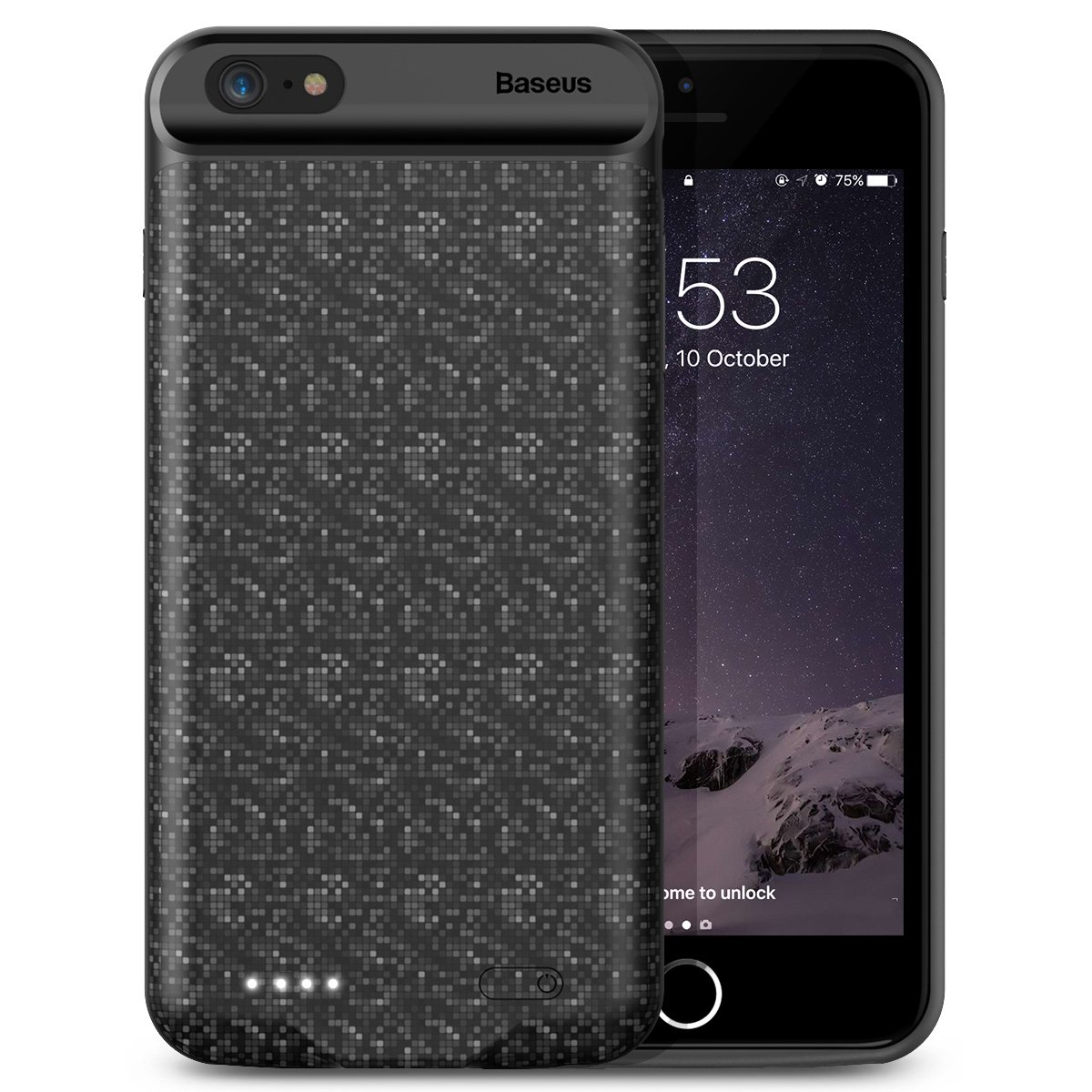 iPhone 6/6s Battery Case, Baseus Plaid Portable Extended Charging Case Fast Charger Case Cover iPhone 6/6s (4.7 inch) 5000mAh Capacity Extra Battery (Black)