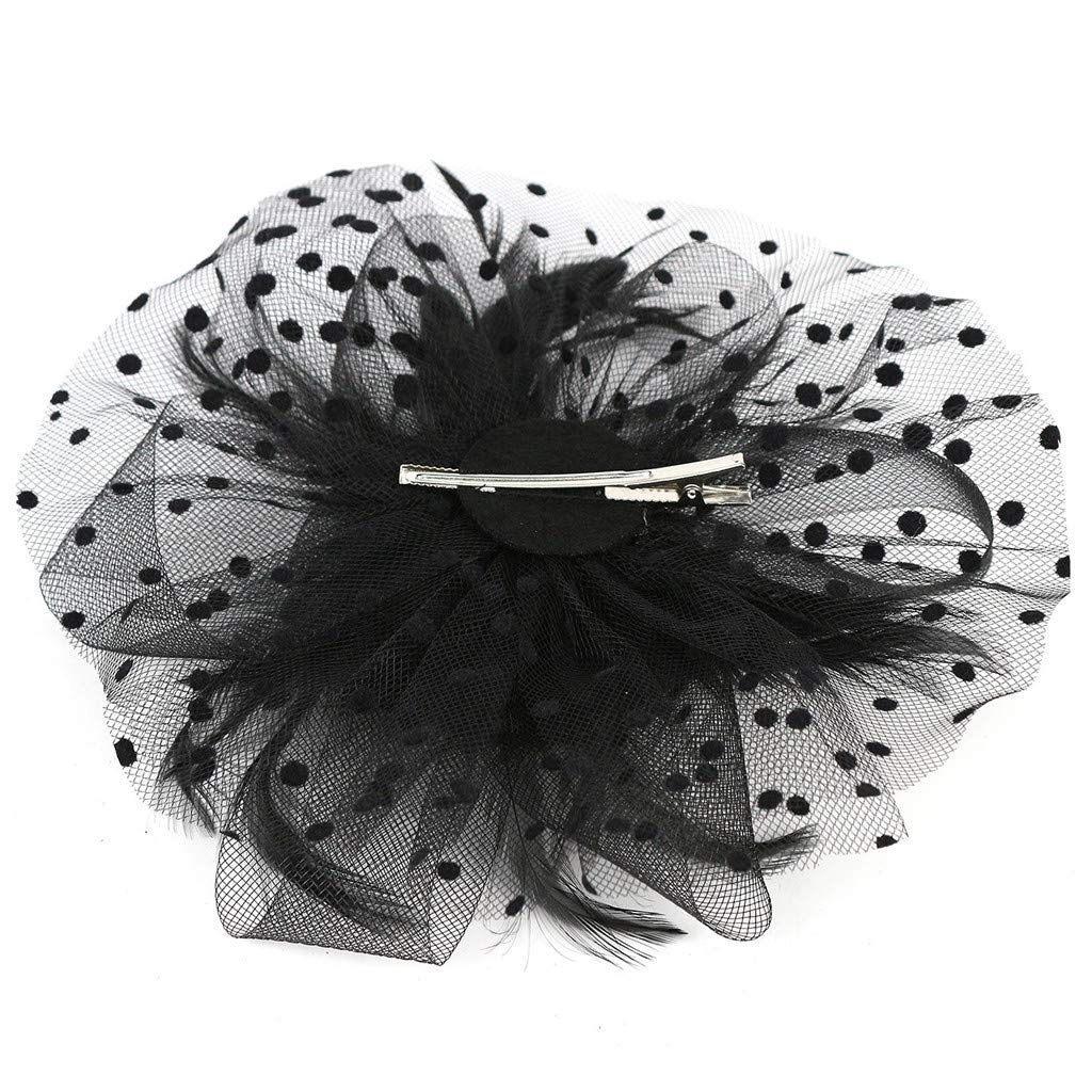 Haluoo Fascinators Hat for Women Flapper Leather Headpiece Flower Tea Party Derby Wedding Cocktail Headband Mesh Hair Clip Headwear Top Hats