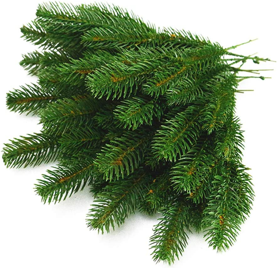 Yarssir 25pcs Artificial Greenery Pine Needle Garland Pine Picks for Christmas Holiday Home Decor, 7x3 Inches(Green-25 Pack)