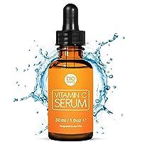 Bioniva Vitamin C Serum with 20% Vitamin C + Hyaluronic Acid. Vegan Anti Wrinkle & Anti Aging Serum. Reduce Wrinkles & Fine Lines & Stimulate Collagen. Great for Dermaroller Microneedling.