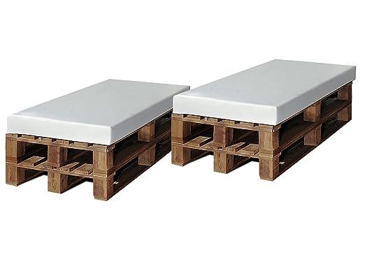SERMAHOME- Pack 2 Asientos de Palet Europeo enfundados en Polipiel Color Blanco. Jardín, Piscina o Chill out. Medidas: 120 x 80 x 9 cm.