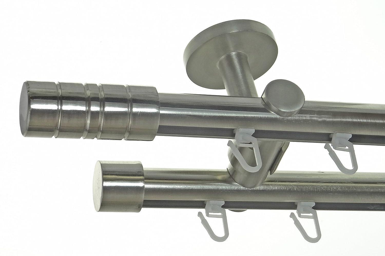 BASIT Innenlauf Gardinenstange Edelstahl Look 20mm Deckenbefestigung, 2-läufig Zylinder, Länge wählbar D40 E34E30, Länge 240 cm