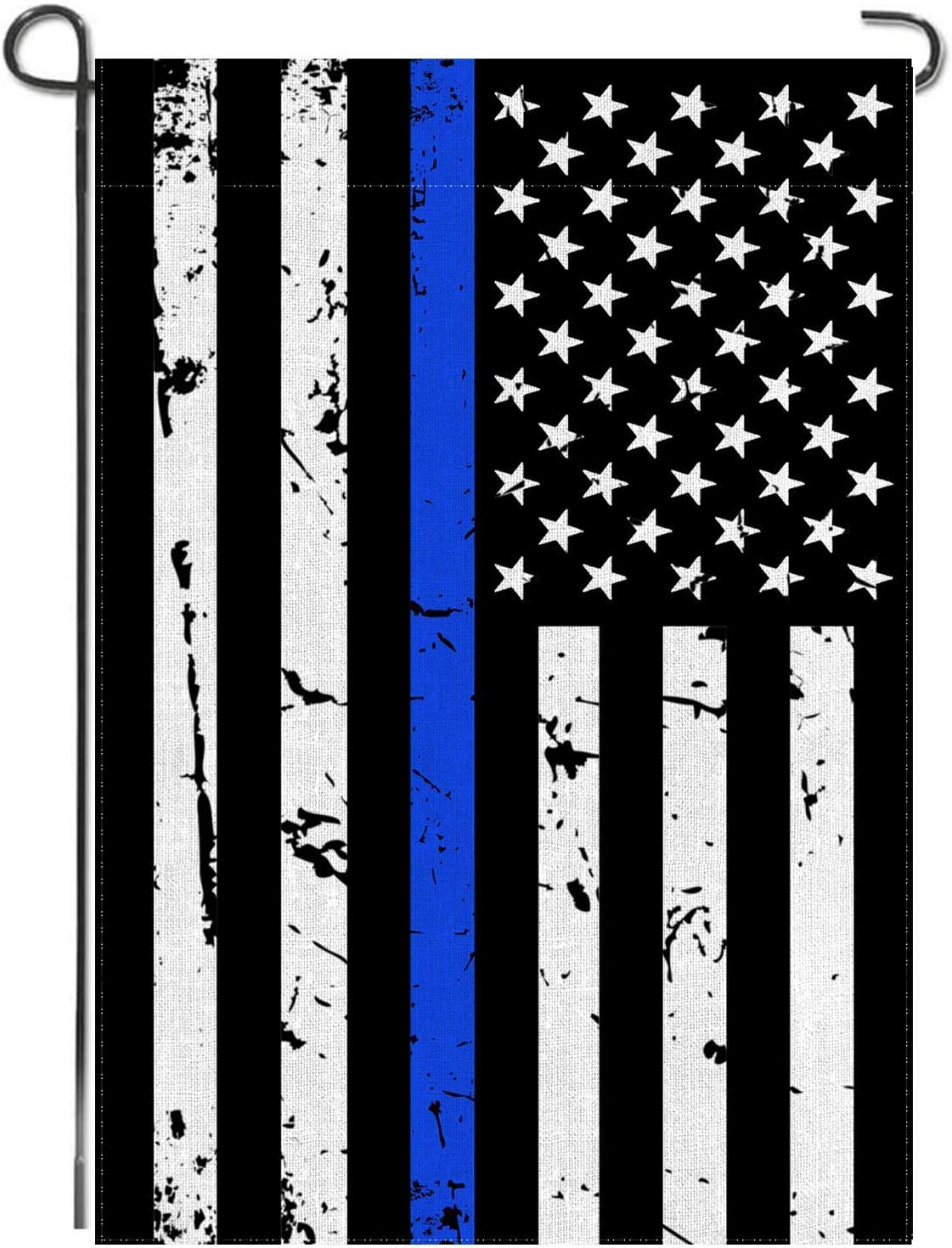Probsin Thin Blue Line Garden Flag American Double Sided US Police Flag Honoring Law Enforcement Officers Outdoor Yard Lawn Banner Decoration 12.5 x 18 Inch