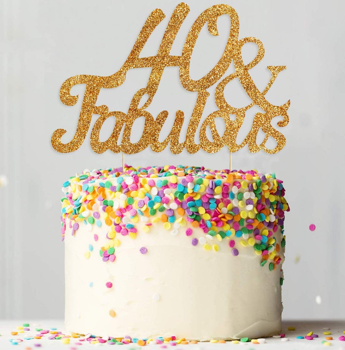 Remarkable 40 Fabulous Gold Glitter Cake Topper Happy 40Th Birthday Party Personalised Birthday Cards Cominlily Jamesorg