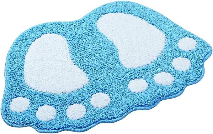 40*60CM Alfombra de ba/ño ParaCity con dibujo de pies grandes absorbente y antideslizante azul