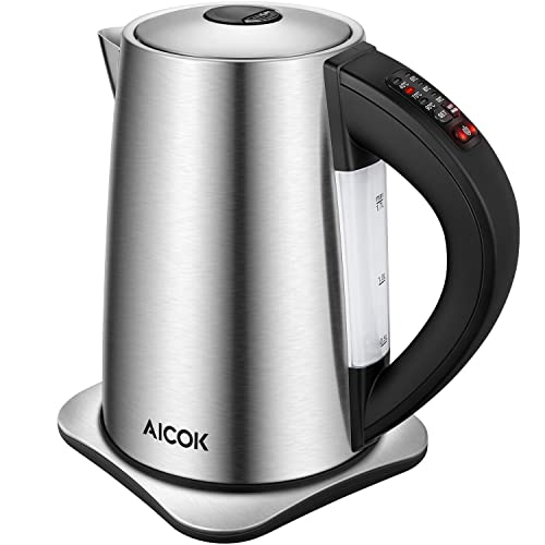 Aicok Kettles Electric 1.7L 3000W Stainless Steel Kettle with Variable Temperature Control, Fast Boil Water Kettle Auto Shut Off and Boil-Dry Protection, Silver