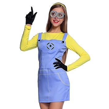 Anladia - Cosplay Dress Disfraz de Minions Dave GRU Mi Vllano Vavorito Fever misiones Talla SML para Adulto Mujer Fiesta Carnaval Temáticas (S)